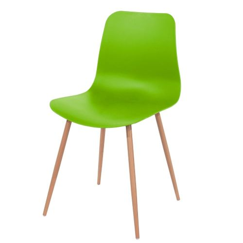 Aspen green plastic chair, wood effect metal legs (sold in pairs) ASCH7GN